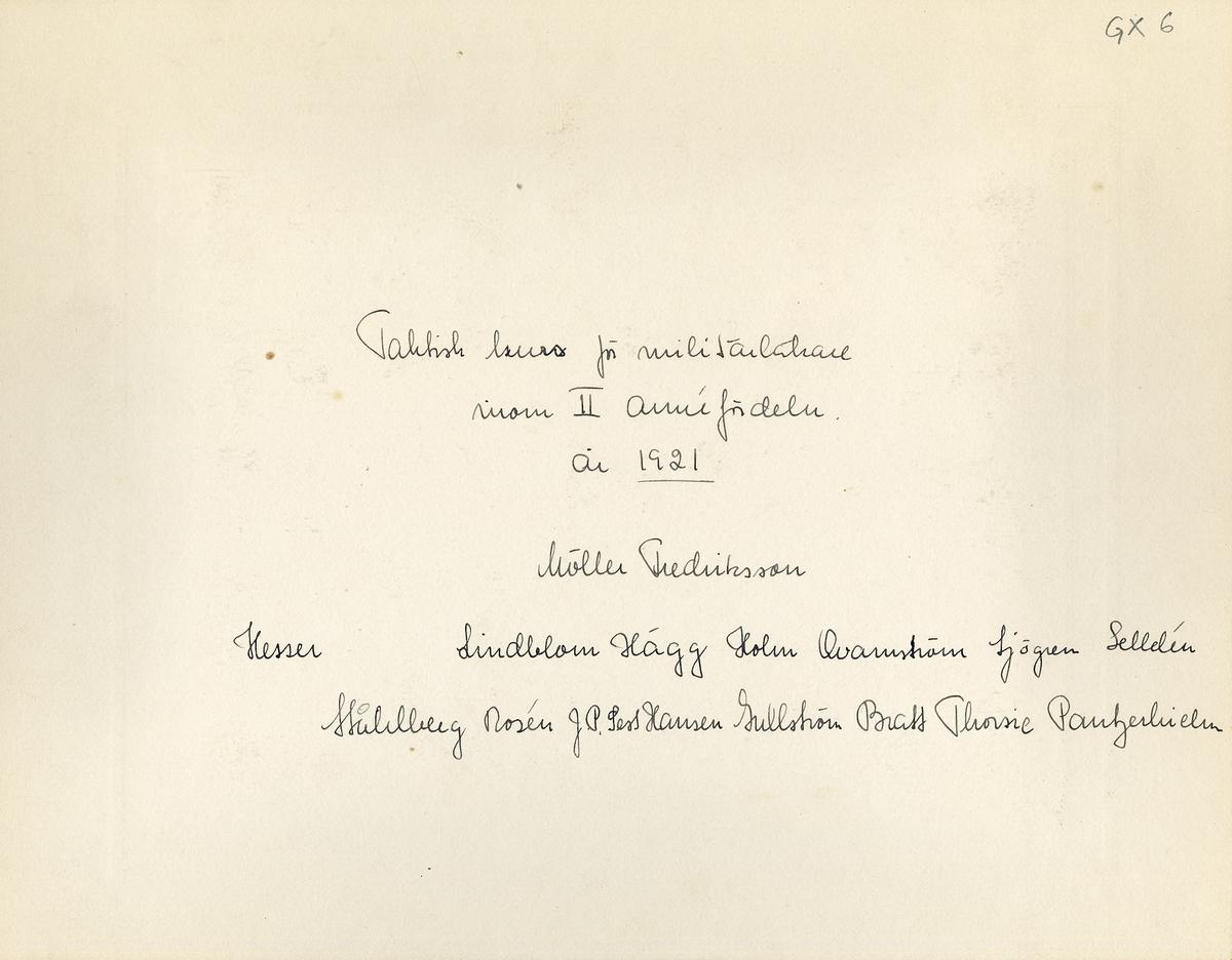 Taktisk kurs för militärläkare inom II:a Arméfördelningen, 1921. För namn, se bild nr. 3.