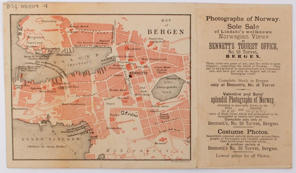 Reklamebrosjyre for Bennetts Reisebyrå i Bergen