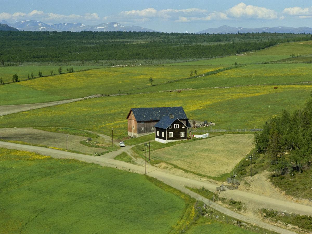 Sør-Fron, Hundorp, Myrvang gårdsbruk. Åpent landskap med fjell i bakgrunnen. Mørk brunt våningshus