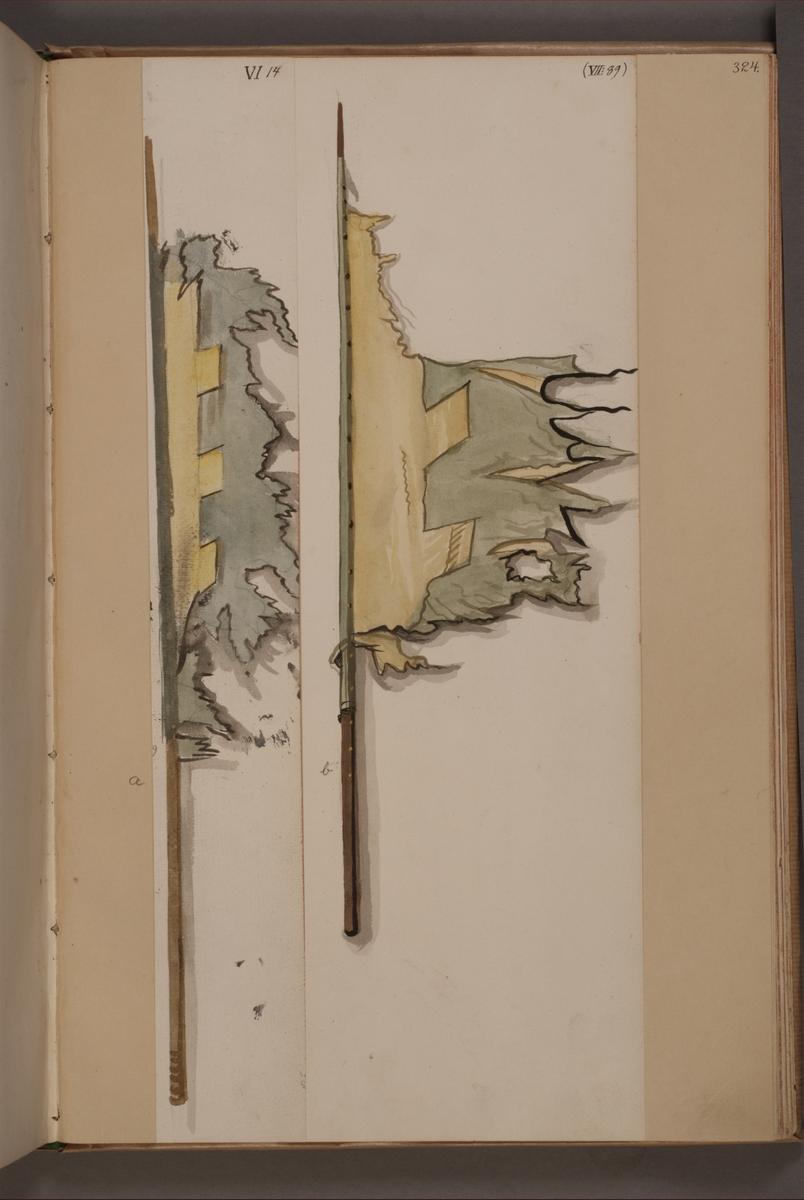 Avbildning i gouache föreställande fanor tagna som troféer av svenska armén. Fanan längst till höger i bild finns bevarad i Armémuseums samling, för mer information, se relaterade objekt.