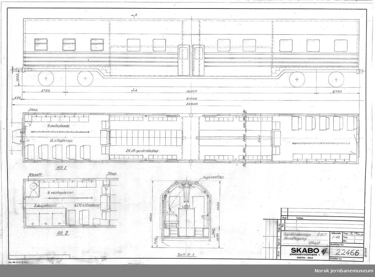 Garderobevogn Ø1217 - Hovedtegning, utkast  Ø1217 er Skabos kode for kunde, som i dette tilfelle er ukjent