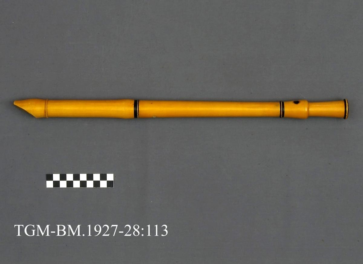 Sjøfløyte. Ligner stor blokkfløyte, av tre, dreiet, i 3 deler. Fra protkollen: Sjøfløyte av tre, dreia gjord i 3 ledar, som ved falsar gjeng inn i einannan. Formi er klarinet-type, med 3 tykkare leite, 1 ljodhol og 8 fingrehol. Gul farnisering, svarmaala led-band.