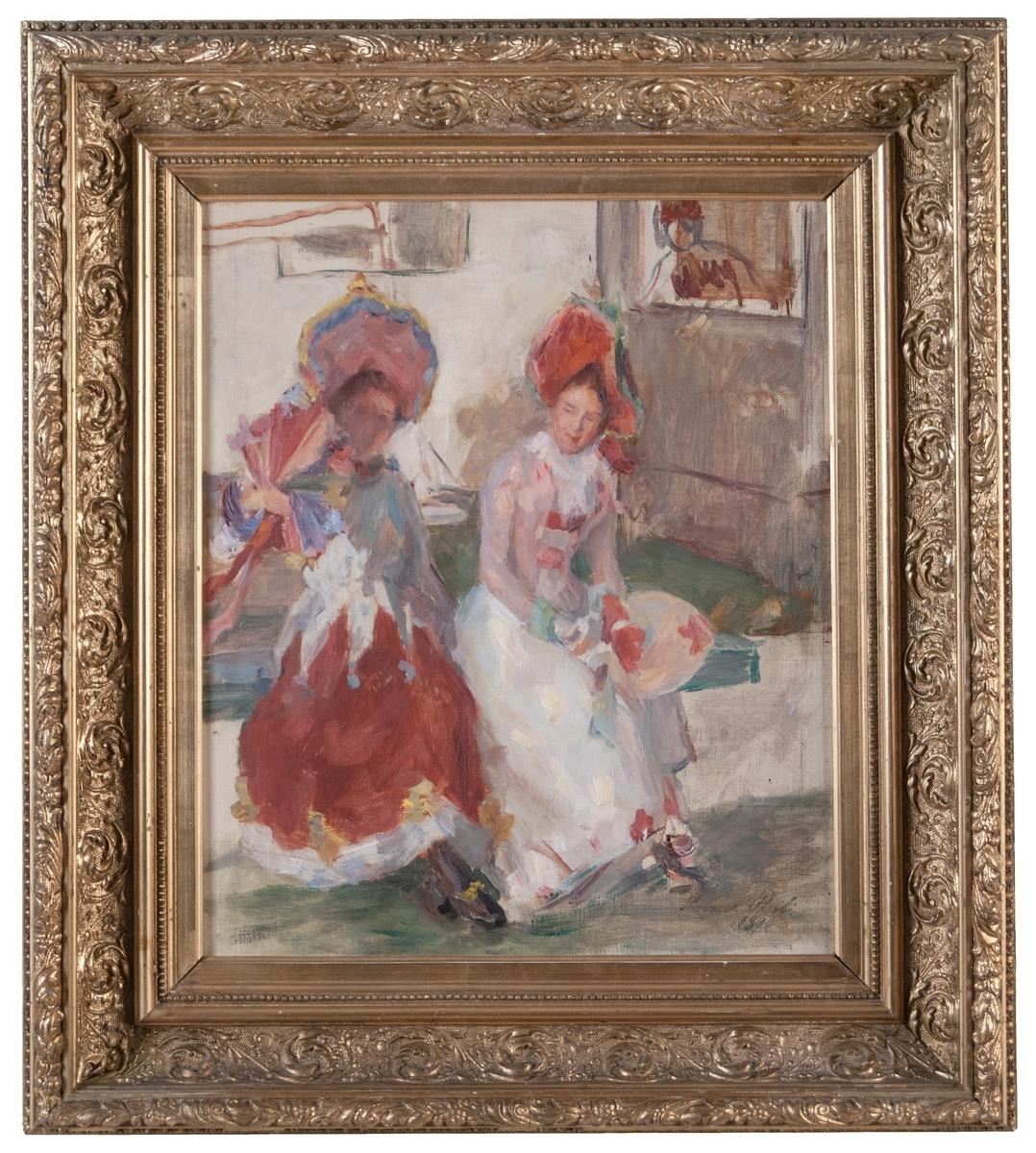 """Oljemålning, """"I vänthallen"""" av Hanna Pauli, 1890."""