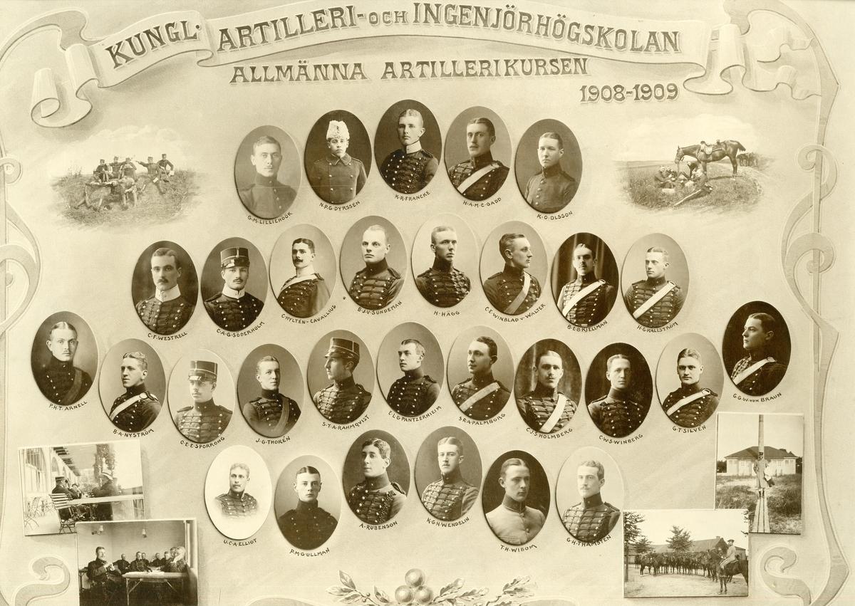 Allmänna artillerikursen vid Artilleri- och ingenjörhögskolan 1908-1909.