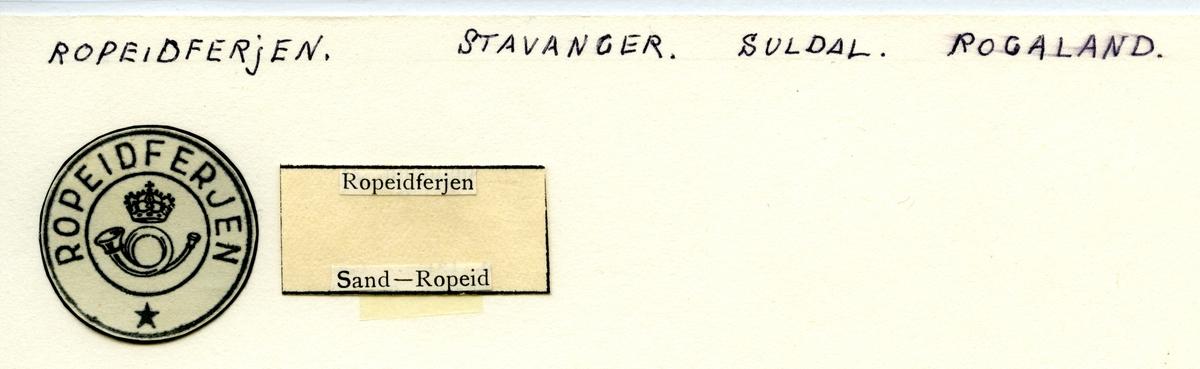 Stempelkatalog Ropeidferjen, Suldal, Rogaland