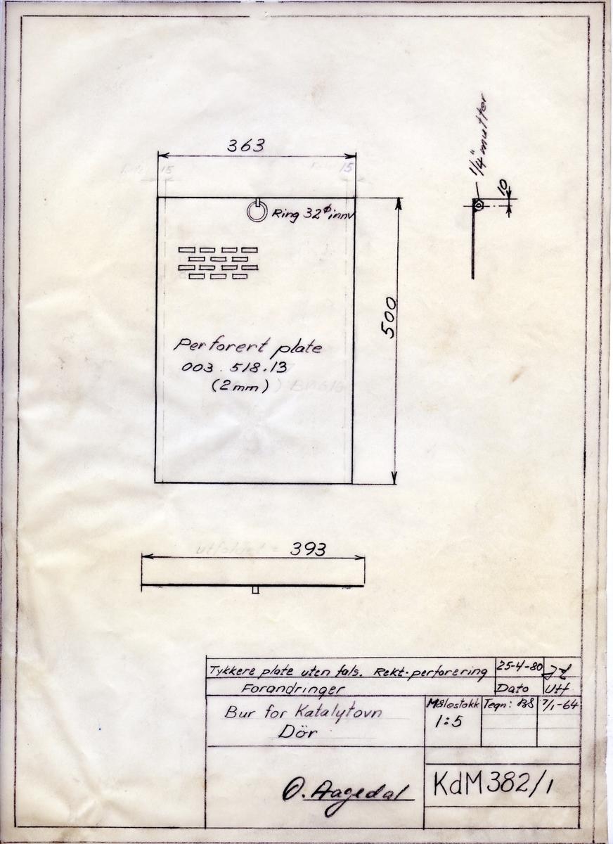 Håndtegnet arbeidstegning til dør til bur for katalytovn, Utarbeidet på Krossen i 1964. Endret 1980. Tegningsnummer KdM 382/1