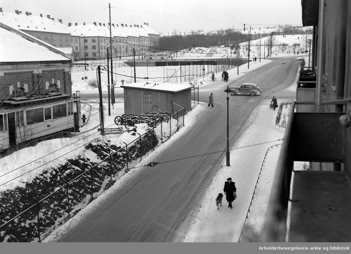 Torshov trikkehall. Januar 1950