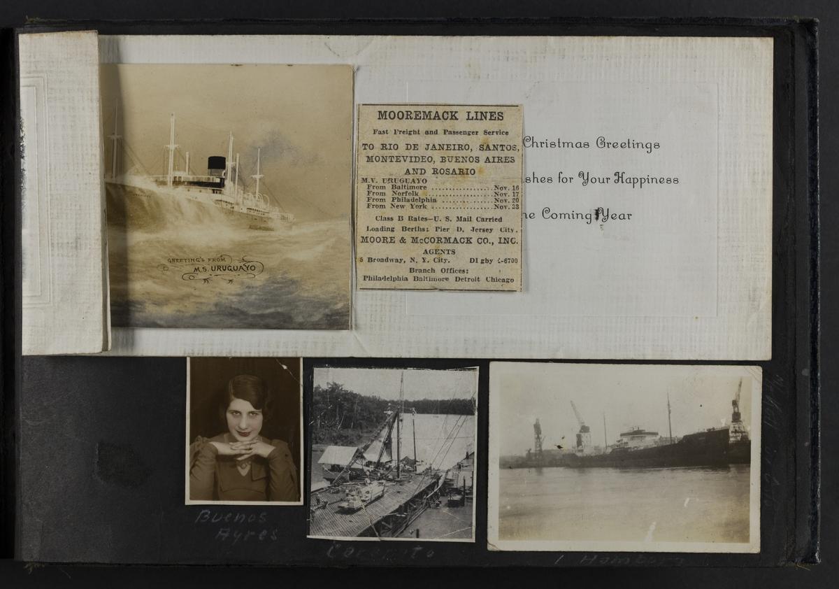 """Portrett av en kvinne, """"Buenos Ayres"""" (nede til venstre). I Hamburg (nede til høyre). Avis bilde """"Carapito"""" (nede i midten). Christmas Greetings postkort (øverst)."""