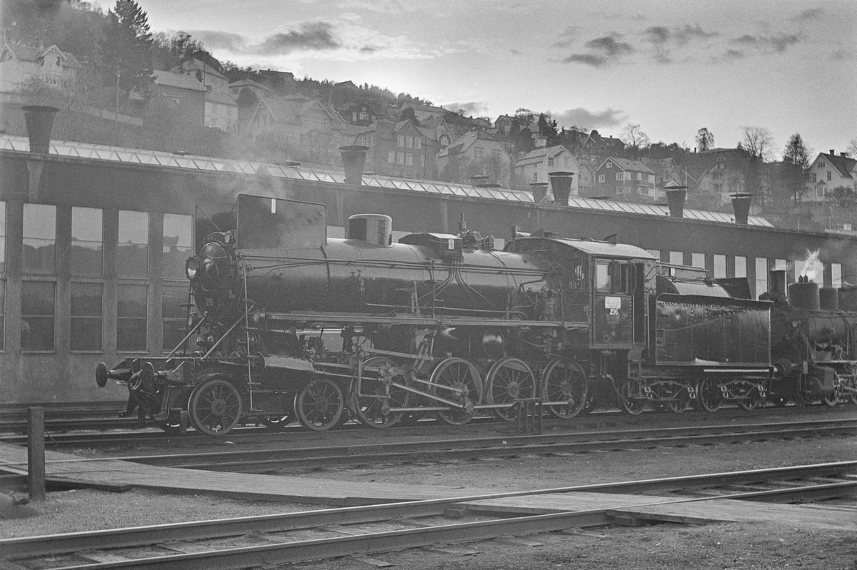 Damplokomotiv type 26a nr. 216, nyrevidert på Marienborg ved Trondheim.