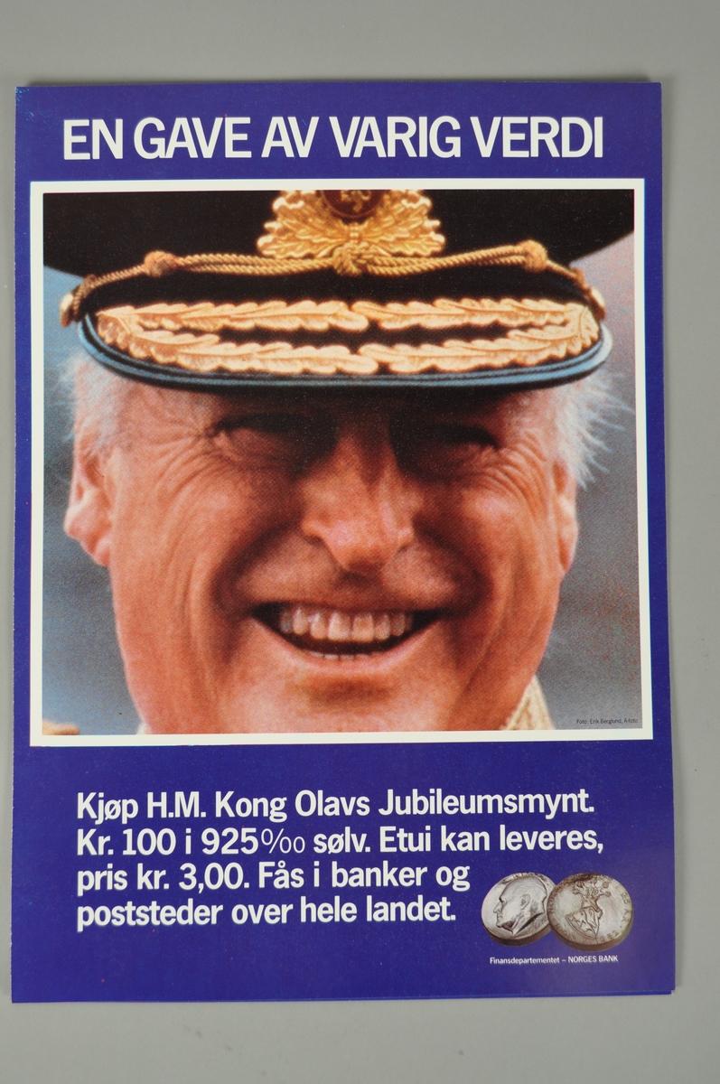 Salgsplakat. Rektangulær plakat med tekst og bilde.