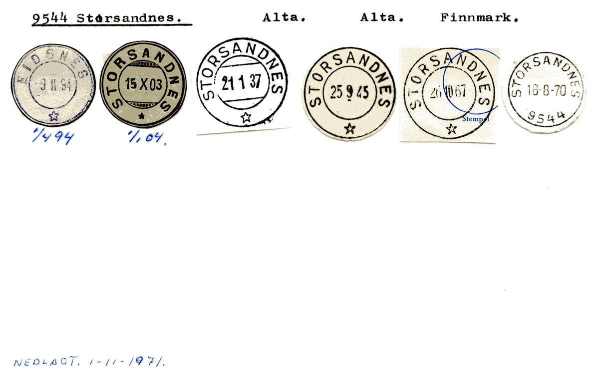 Stempelkatalog 9544 Storsandnes, Alta kommune, Finnmark (Eidsnes 1.4.1894)