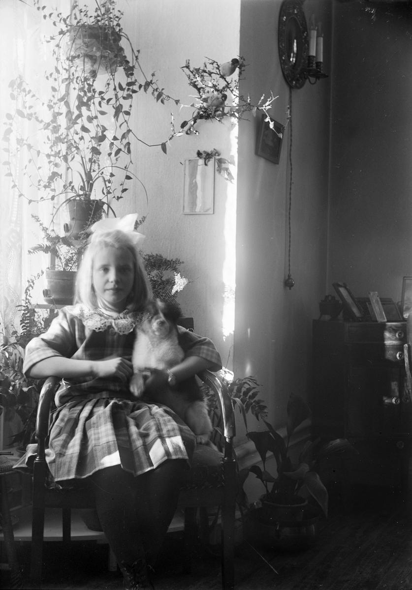 Ruben Liljefors dotter Marit med hundvalp i hemmet i Sverige