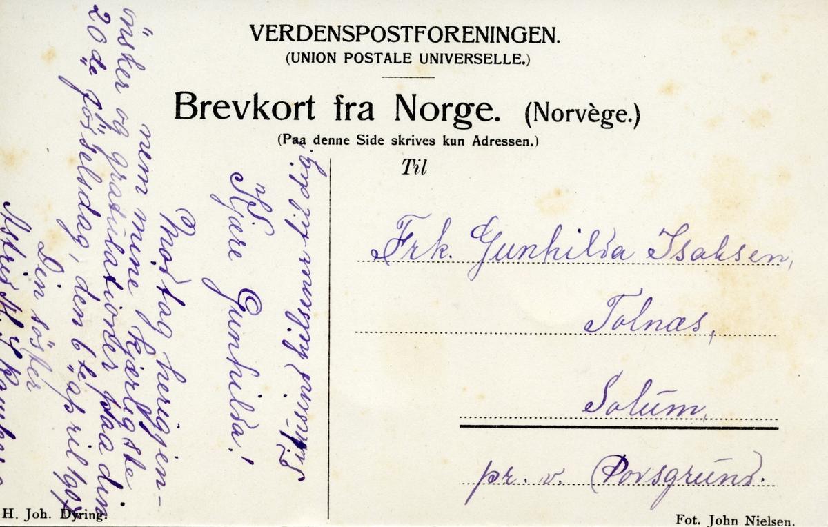 Fra Porsgrund. Postkort formet som en avisside fra Porsgrund Blad.