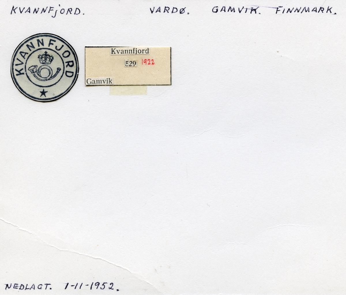 Stempelkatalog Kvannfjord, Vardø, Gamvik, Finnmark