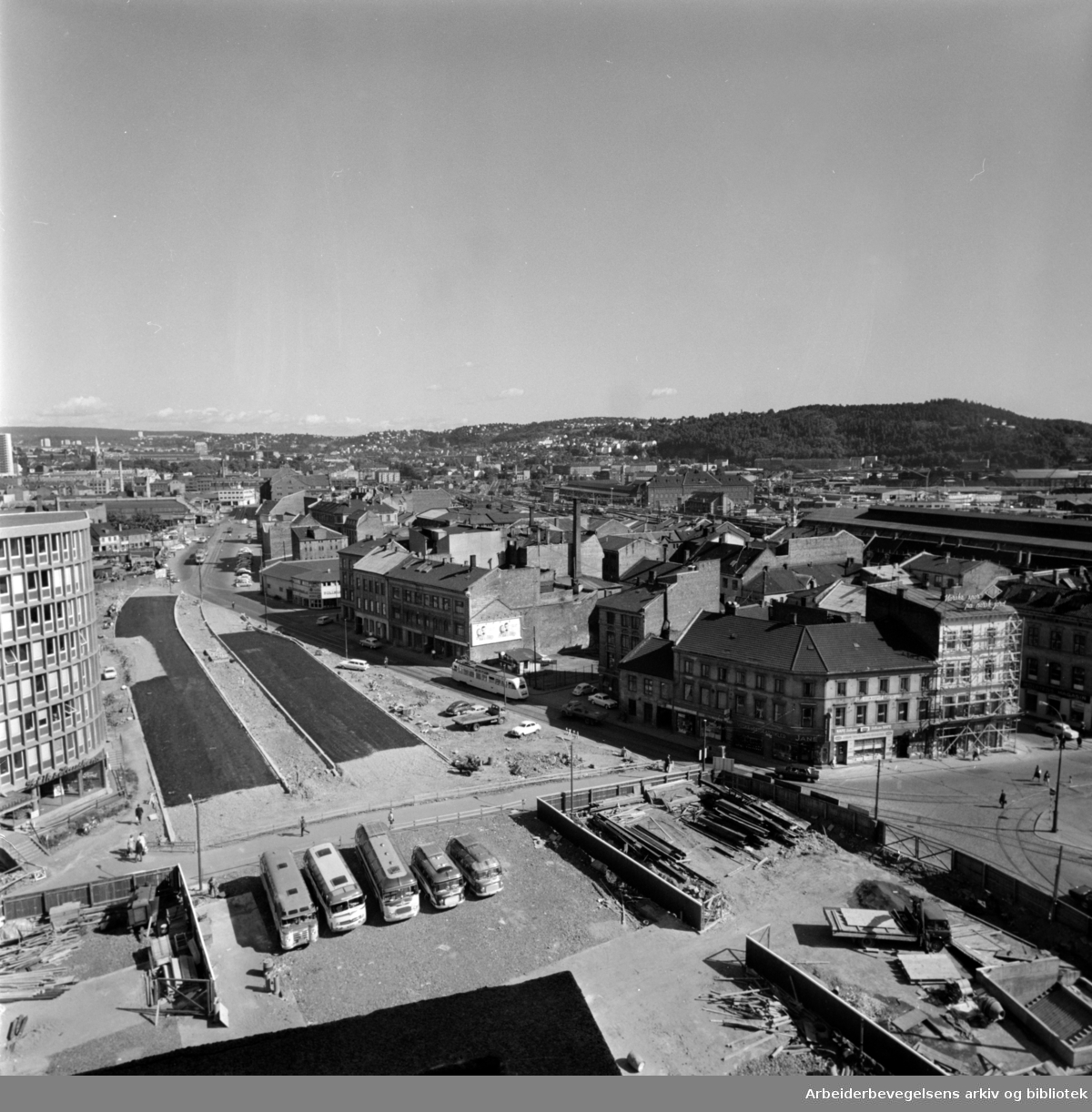 Vaterland. Oversiktsbilde over saneringsområdene, fotografert fra toppen av hotell Viking. August 1968