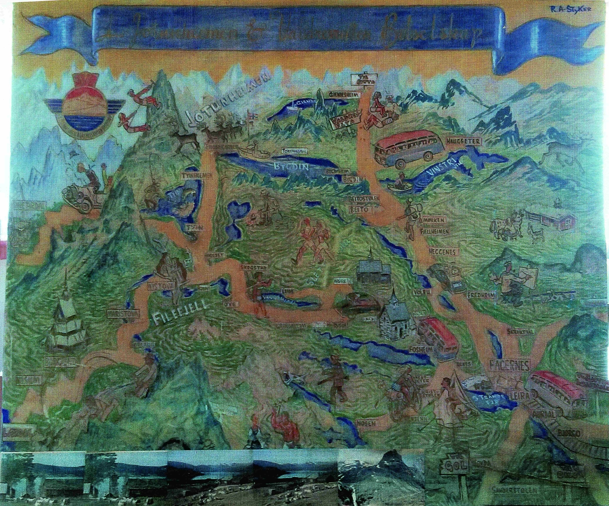 Dette bildet av JVB sitt ruteområde ble tegnet og malt av Valdresmaleren Ralph Fairlight Aulie Styker en gang på slutten av 1950-årene.