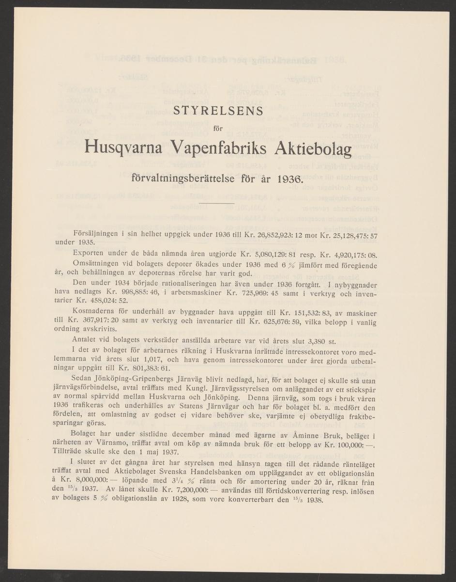 Husqvarna vapenfabriks kronologi. Ur Carl Sahlins bergshistoriska samling.