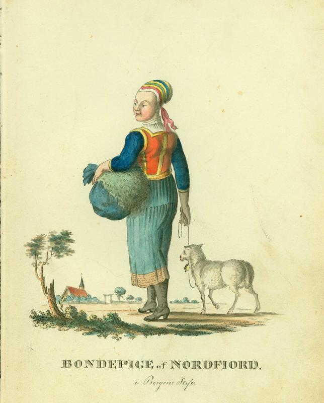 Norsk «hyrde»-romantikk fra tidlig 1800-tall. Tegning av F. L. Dreier.