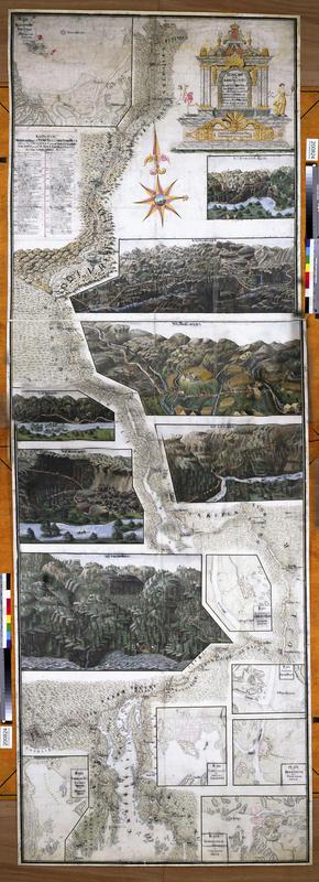 Illustrasjon over Christian 6.'s reiserute på Østlandet, med detaljer fra de ulike besøksstedene uthevet.