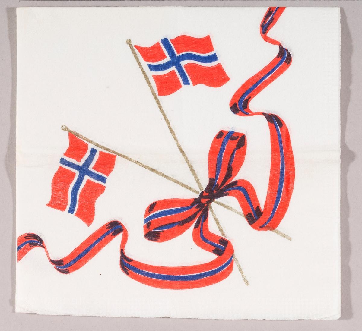 To norske flagg i kryss. Et bånd i rødt og blått bundet i sløyfe.
