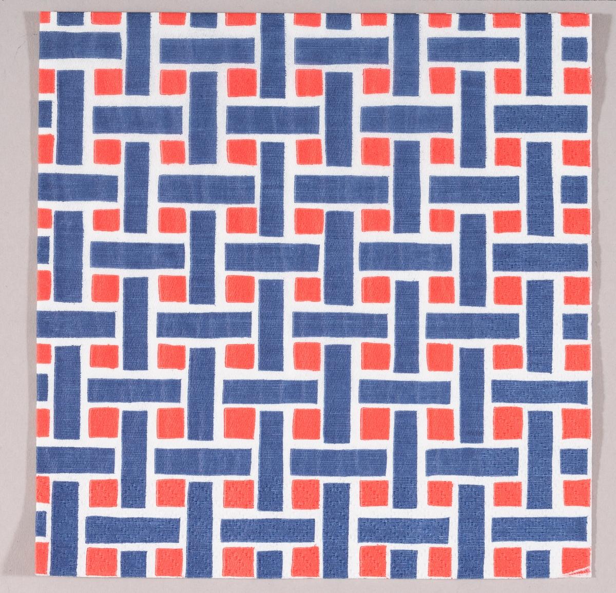 Fargene blå, hvit og rød i et kryssmønster med vertikale og horisontale streker.