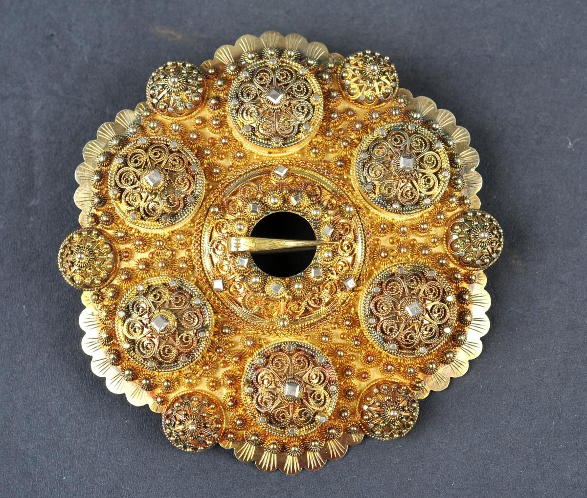 Kuva bolur med oppslege kuve i midten. Alle krusar er dobbelt med små fyllingsknupp. Delingskrusar på bolune.