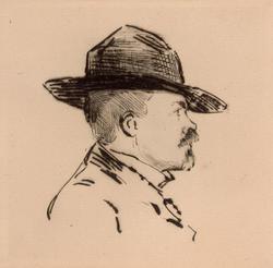 Portrett av forfatter Peter Andreas Egge [radering]