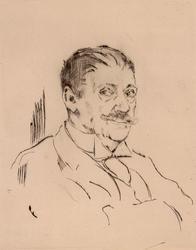 Portrett av forfatter Hans Aanrud [radering]