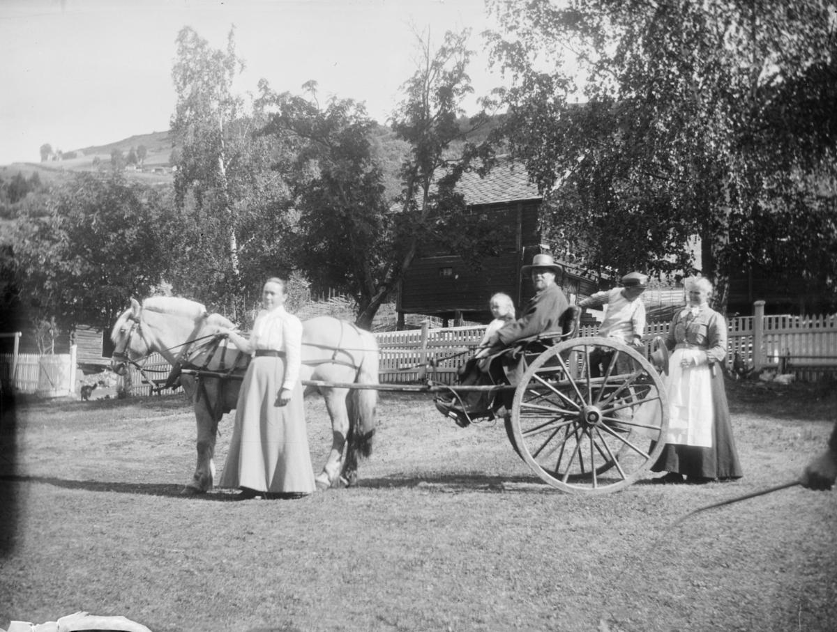 Hest med karjol og fem voksne og barn, muligens på Øyer prestegård