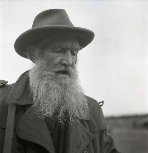 Gammal positivspelare med hatt och skägg, Trönö 25 september 1951.