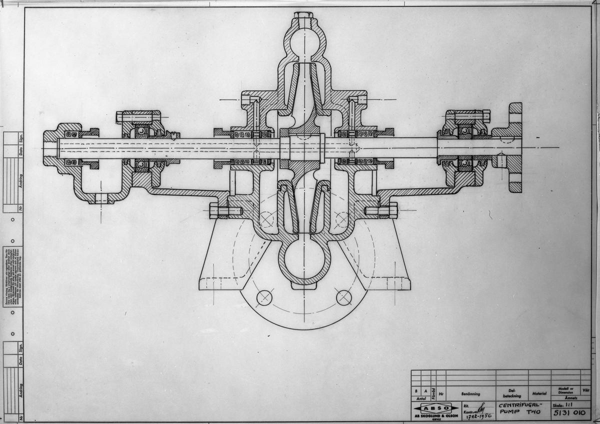 Ritning på Centrifugalpump T 40, den 6 mars 1957 Startade en fabrik i Strömsbro 1953
