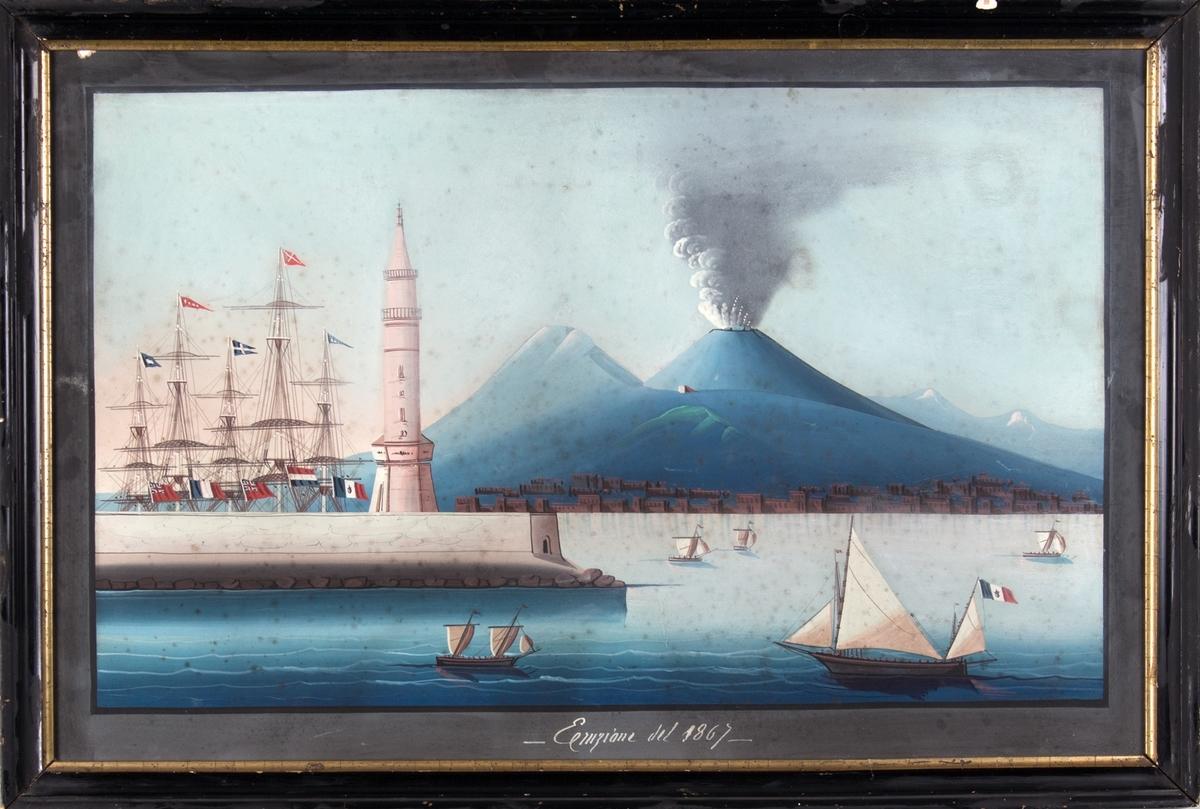 Prospekt fra havnen i Napoli, Vesuv´s vulkanutbrudd i 1867. Ser flere mindre seilfartøy, derav ett som fører det franske flagget med riksvåpen. I havnen ses fem master som fører det britiske handelsflagg Red ensign, fransk flagg og hollandske flagg.