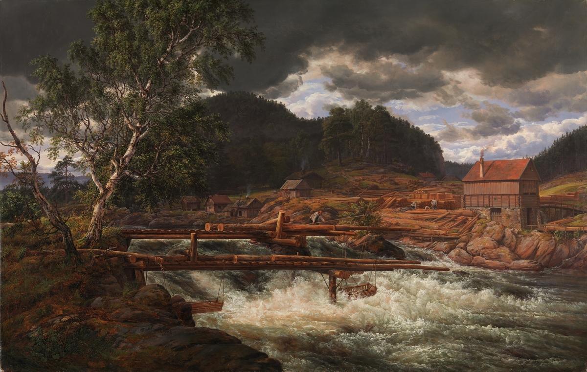 Hellefossen ved Hokksund [Maleri]