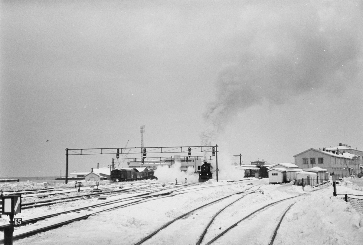 Persontog på Trondheim stasjon. Toget trekkes av damplokomotiv type 63a nr. 1101. Dette kan være ekstratog til Røros i forbindelse med Rørosmartnan, som ble avviklet fra 15. februar.