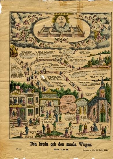 Färglitografi. Plansch med religiöst motiv, den breda och den smala vägen,  detaljerat utförd med bilder och förmanande text.