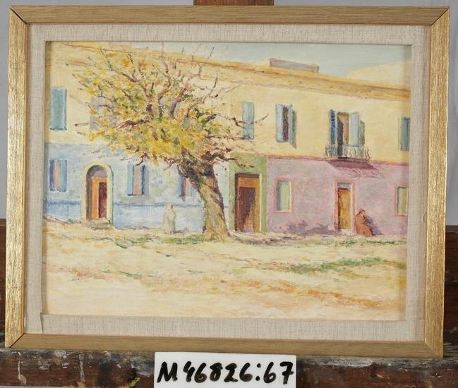Oljemålning på masonit. Sydländsk husfasad med träd i förgrunden. Italien