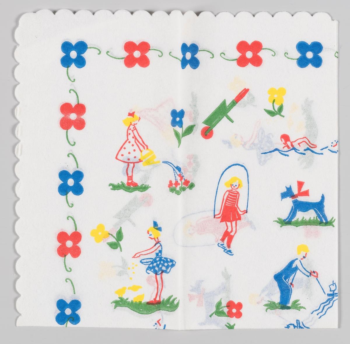 En jente som vanner blomster. En trillebår. En jente som svømmer. En jente som hopper i hoppetau. En hund med sløyfe. En jente som gir kyllinger mat. En gutt som leker med en lekebåt i et vannløp. Røde og blå blomster langs kanten.