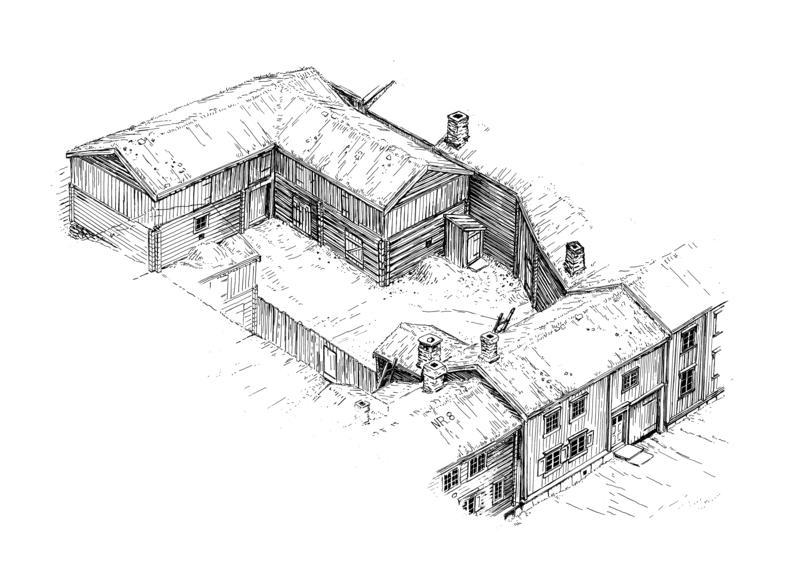 A typical farm in the mining town with living quarters in the front, and barn, stable and outhouse behind the farmhouse. Illustration: Sverre Ødegaard