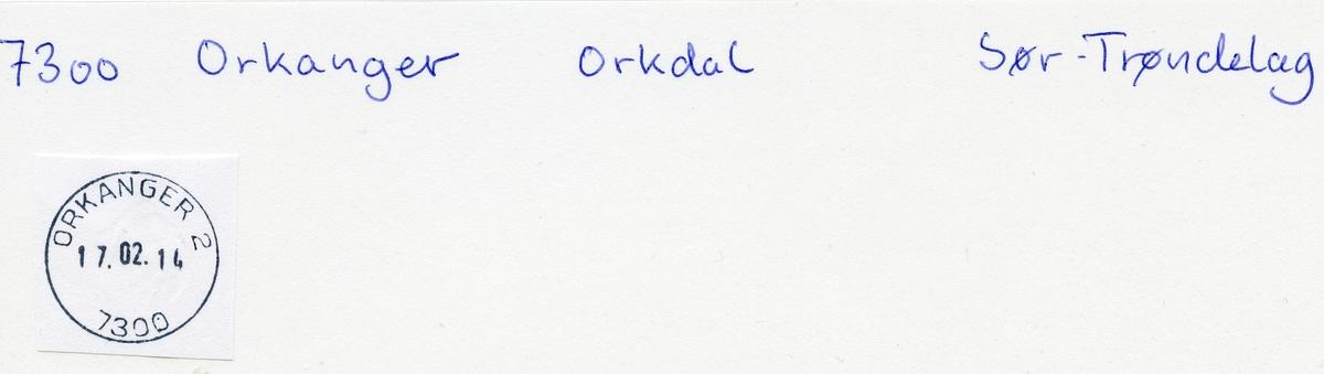 Stempelkatalog  7300 Orkanger, Orkdal kommune, Sør-Trøndelag (Orkedalen)