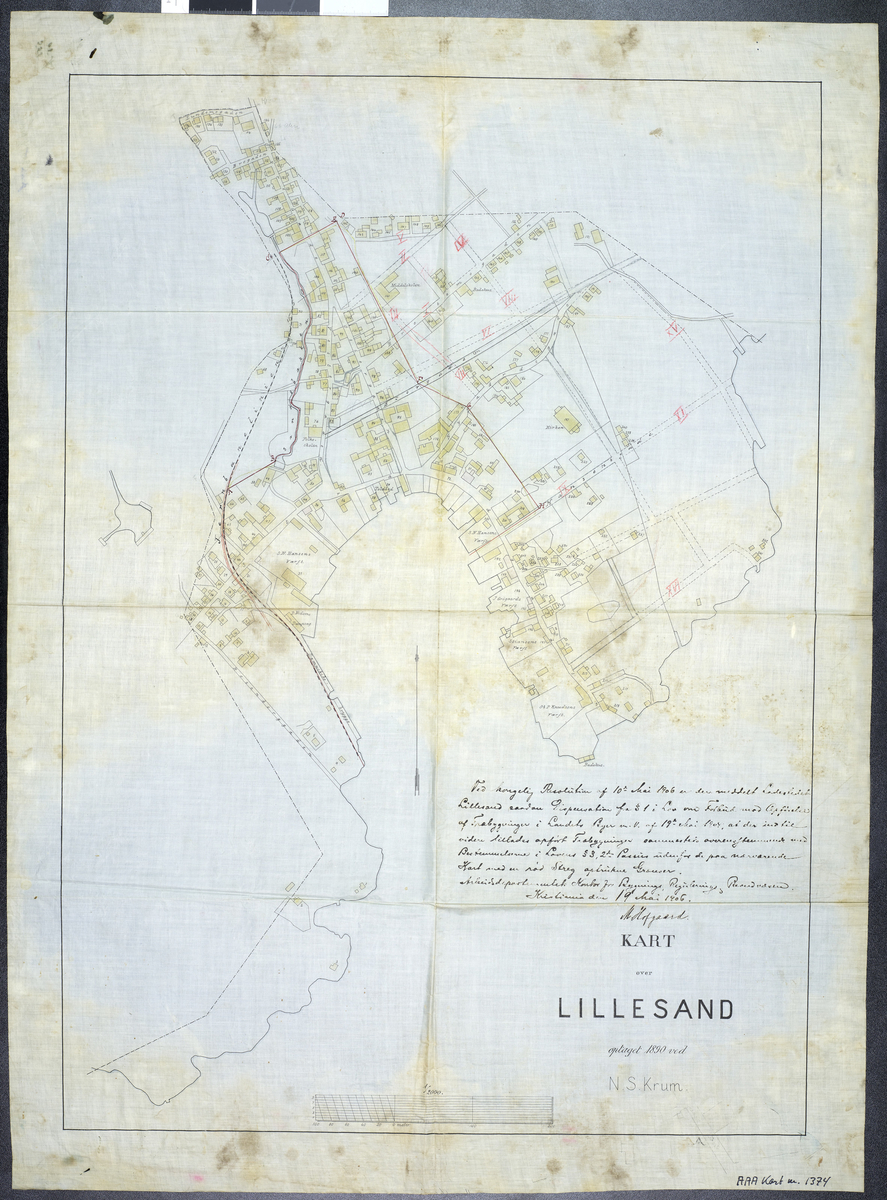 Matrikkelkart over Lillesand, kolorert.