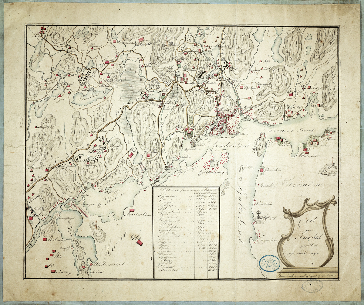 Kart over Arendal og en del av omegnen, møllebruk og gruver