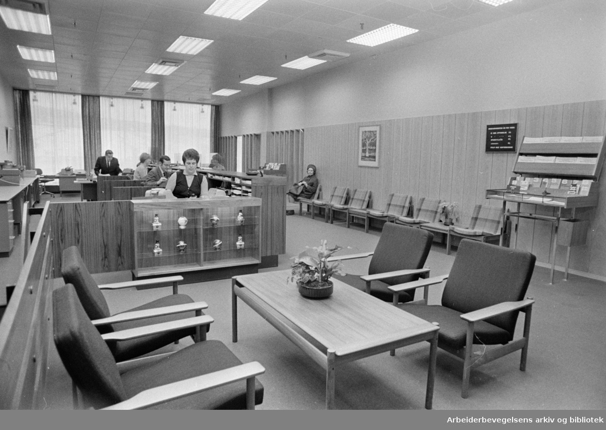 Landsbanken. Interiør. Januar 1971