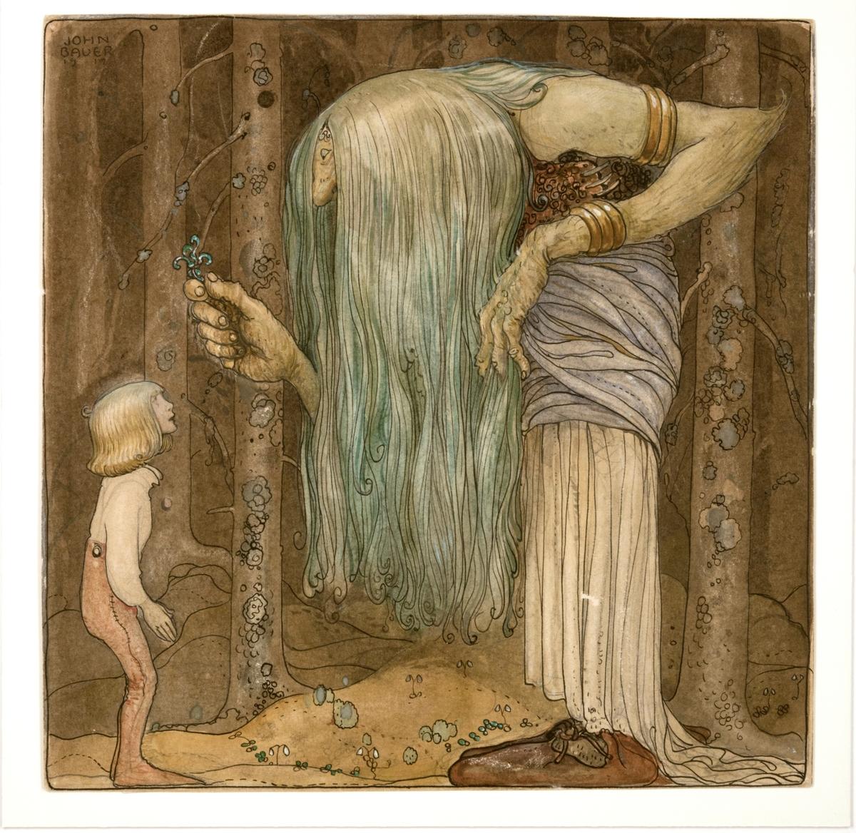 """Akvarellmålning med detaljer i gouache, tusch och blyerts föreställande troll/skogsrå med långt hår som överräcker en trollört till pojken i skogen. Brun färgskala, trollets hår grönfärgat.  Baksida text: """"Här ska du få en bit af en trollört, som (ingen) mer än jag kan leta rätt på""""."""