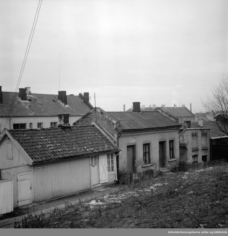 Kampen, gammel bebyggelse. Saneringsplaner. Desember 1955