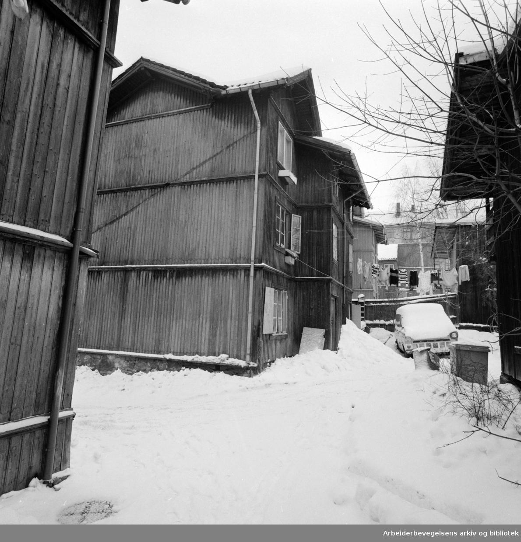 """Kampen. Fra """"Familiekroken"""" i Norderhovsgata. Februar 1978"""