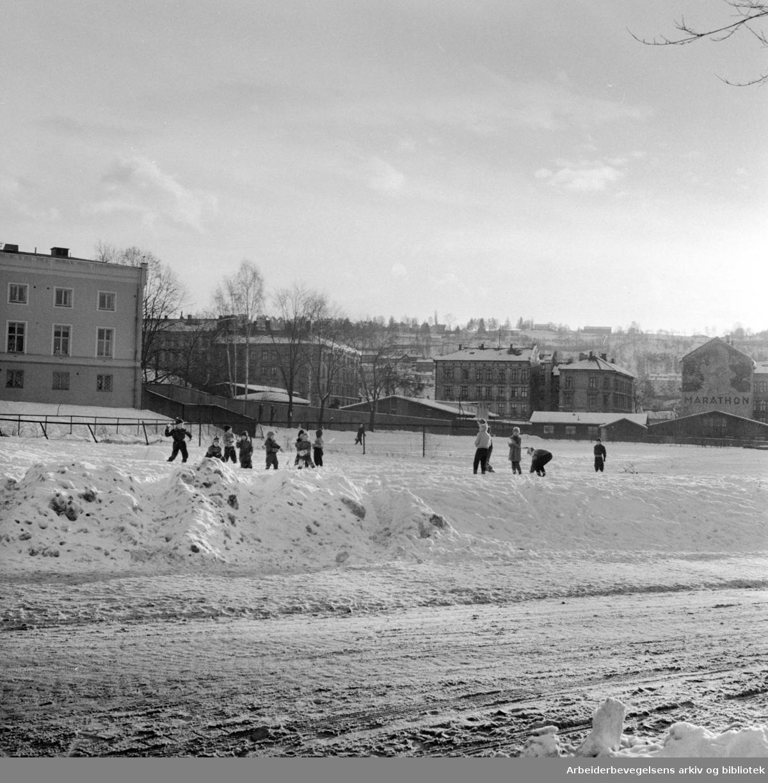 Klosterenga på Kampen etter at brakkene er revet. Januar 1958