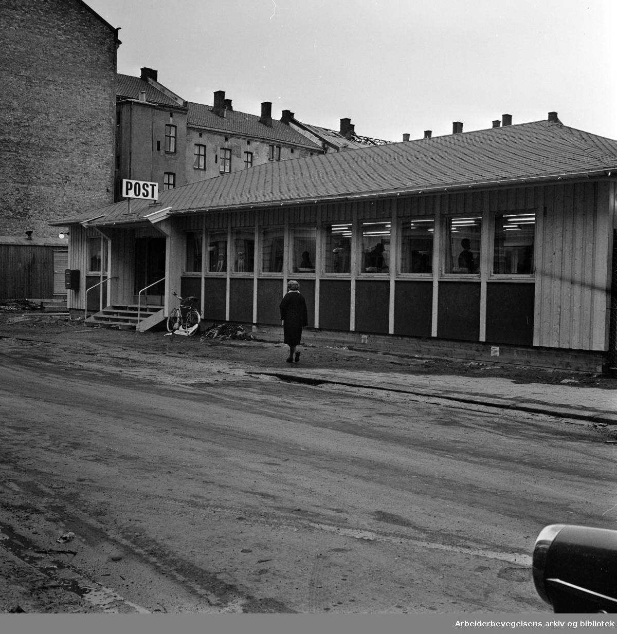 Grünerløkka. Grünerløkka postkontor. Mars 1970