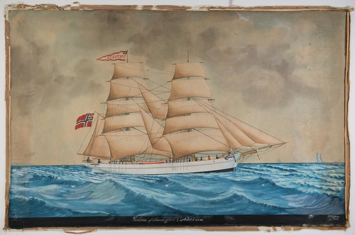 Brigg 'Victoria' af Sandefjord Unionsflagg, navnevimpel