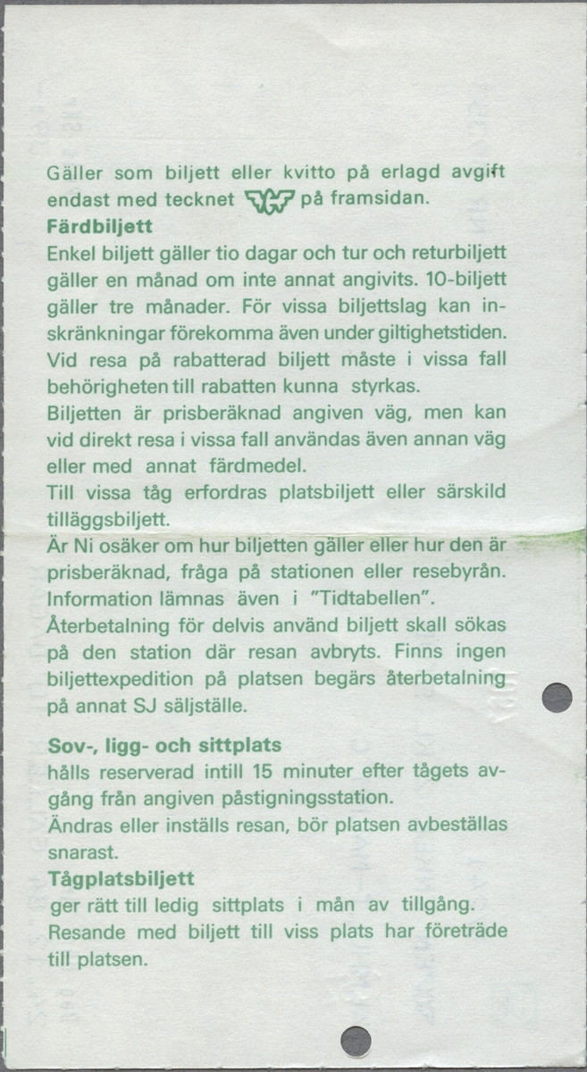 """Gulmönstrad biljett med tryckt text i svart: """"EN ENKEL 2 KL STUD ÄLMHULT-MALMÖ C Dag Mån År 24.12.84 GÄLLER 10 DAGAR Pris Skr 39:-"""".  Biljettens mönster består av ellok samt SJ´initialer i gult inom en vit cirkel med ram runtom. Initialerna återfinns i grönt i en gul cirkel med grön ram, i övre vänstra hörnet. SJ's logga i en mindre variant, det bevingade hjulet, tryckt i svart står under den föregående loggan. En biljettång har stansat ett hål i överkanten på biljetten. Baksidan har regler/bestämmelser för biljetten.  Det finns en dubblett med annan resväg, datum, pris och biljettnummer."""