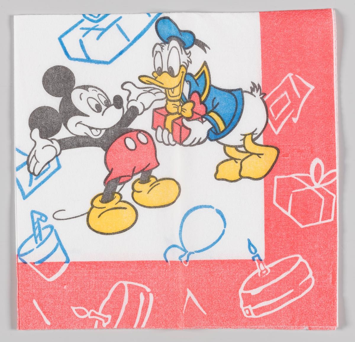 Donald Duck står med en presang som han vil gi til Mikke Mus. kaker og bursdagspresanger svever rundt de to.